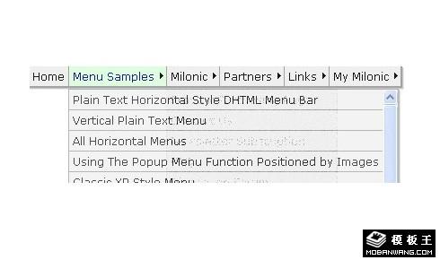 Milonic DHTML JS鼠标经过显示下拉内容横向导航菜单