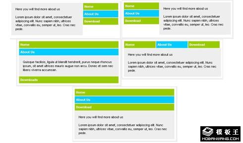 简洁风琴标签不同方向弹性效果导航菜单